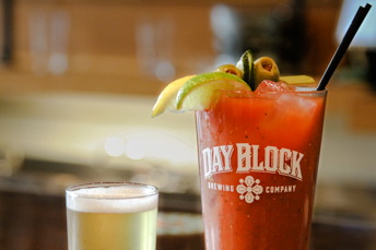 Bloody mary with a beer back back of choice