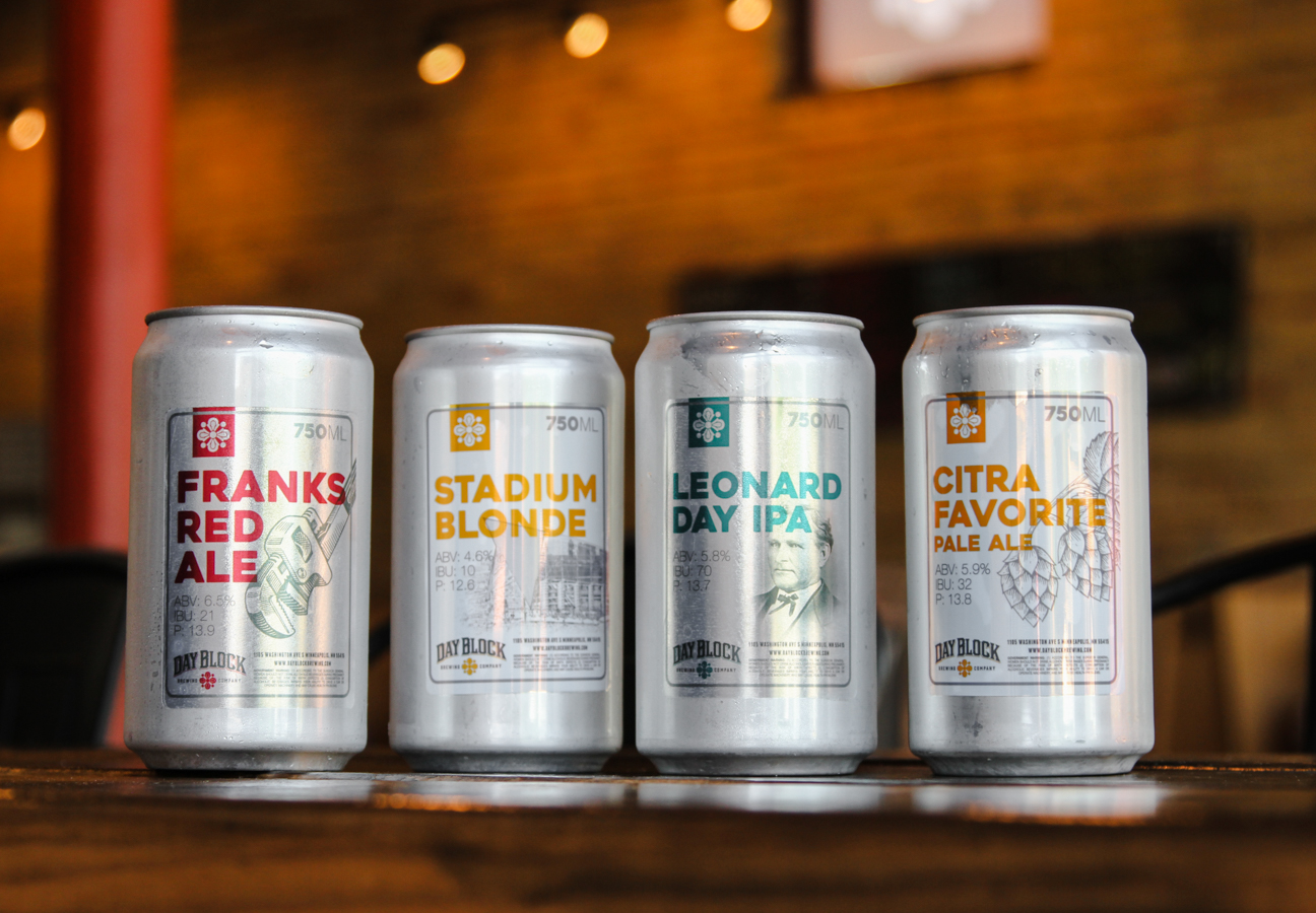 crowler cans lined up in our minneapolis brewery
